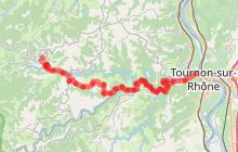 Parcours cyclo descendant Les Gorges du Doux
