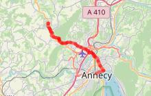 Itinéraire vélo - Du lac de La Balme au lac d'Annecy (par Albigny)