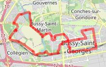 Bussy-Saint-Georges à travers parcs et jardins à vélo